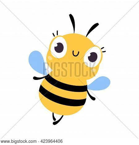 Cute Funny Bee Insect, Lovely Colorful Creature Cartoon Vector Illustration