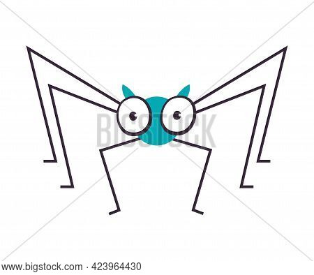 Cute Funny Spider Insect, Lovely Colorful Creature Cartoon Vector Illustration