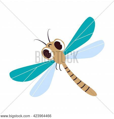 Cute Funny Dragonfly Insect, Lovely Colorful Creature Cartoon Vector Illustration