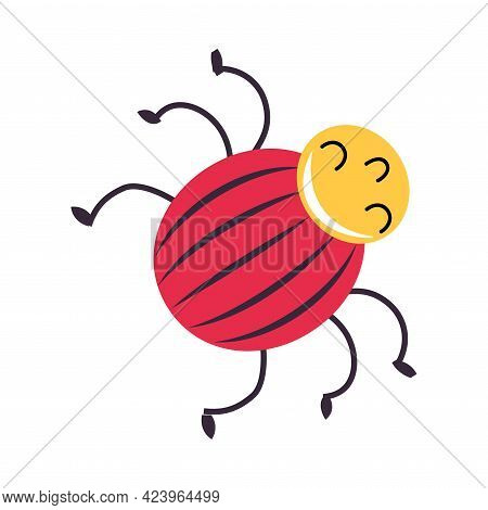 Cute Funny Colorado Beetle Insect, Lovely Colorful Creature Cartoon Vector Illustration