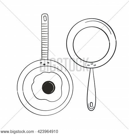 Sketch Fry Pan In Doodle Style. Hand Drawing Vector Illustration.