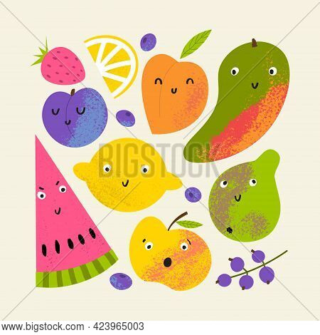 Fruit Summer Round Print. Cute Tropical Composition With Fruits: Lemon, Dragon Fruit And Others.