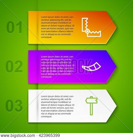 Set Line Trap Hunting, Hunting Horn, Road Traffic Sign And Target Sport. Business Infographic Templa