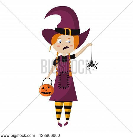 Halloween Vector Illustration Of Girl In Witch Costume With Red Hair Holding Pumpkin And Spider. Emo