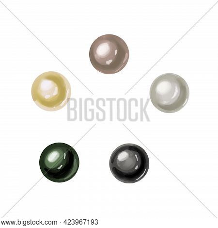 Pearl Set Sea Nacreous Isolated On White Background. Watercolor Hand Drawn Realistic Iridescent Pale
