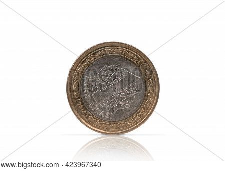Turkish Lira, A Coin Made Of White And Yellow Metal, Isolate For Clipping On A White Background