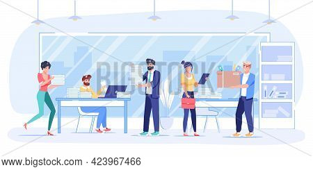 Vector Cartoon Flat Employee Characters At Work, Performs Tasks.employees Office Workers In Hurry, W