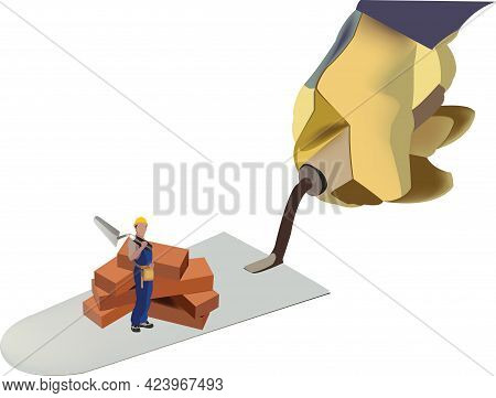 Construction Trowel With Bricks And Worker Construction Trowel With Bricks And Worker