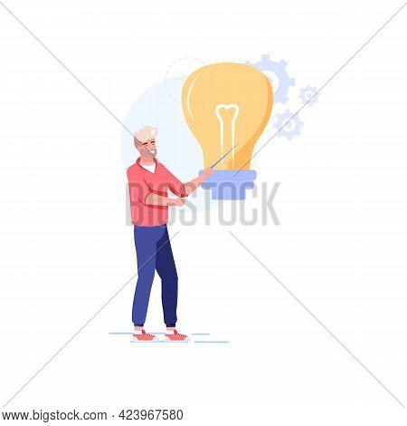 Vector Cartoon Flat Character Present New Idea.man Shows Glowing Lamp-metaphor Of Fresh Ideas, Findi
