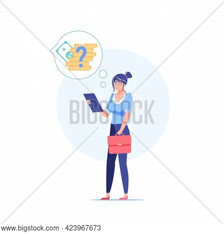 Vector Cartoon Flat Woman Character Thinks About Finances.girl Thinking About Income, Money Manageme