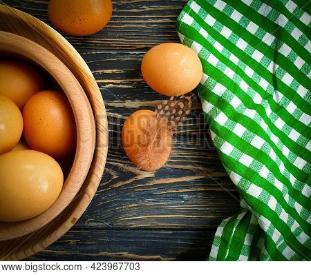 Chicken Eggs, Feather On Wooden Background Farm
