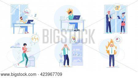 Set Of Vector Cartoon Flat Employees Characters, Work Deadline Scenes.frustrated Upset Employee Offi