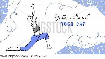International Yoga Day Minimalist Vector Banner, Poster, Background. .one Continuous Line Art Drawin