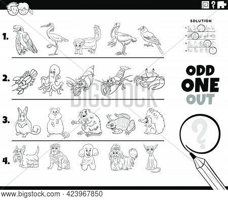 Black And White Cartoon Illustration Of Odd One Out Picture In A Row Educational Task For Elementary