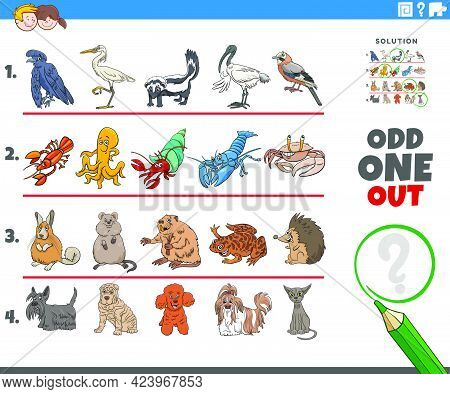 Cartoon Illustration Of Odd One Out Picture In A Row Educational Task For Elementary Age Or Preschoo