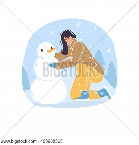 Vector Flat Cartoon Family Characters Making Snowman Outdoor In Winter Season - Fashion, Emotions, H