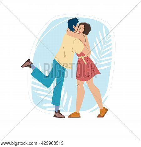 Vector Cartoon Flat Characters Friends Lovers Couple Happy Hugging Each Other, Young People In Love