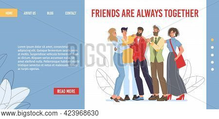 Vector Cartoon Flat Characters Friends Happy Hugging Each Other, Friendly Team Young People - Ready