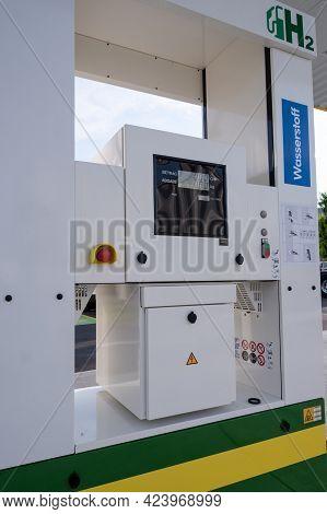 Lucerne, Switzerland - June 16, 2021: Hydrogen Fuel Pump At An Agrola Filling Station, For Cars Powe