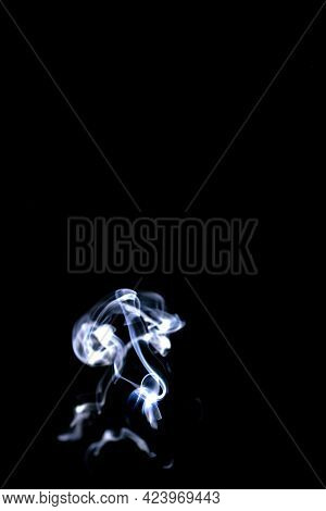 Smoke Hot. Blur Steam Mist Cloud, White Natural Steam Smoke Effect  Isolated On Black Background. Fo