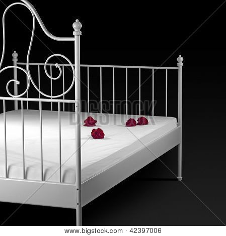 Bed With Rose Flowers