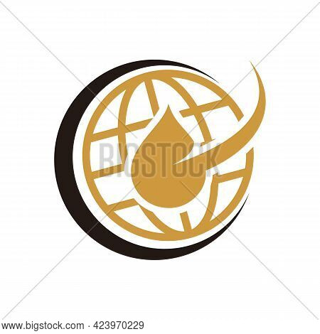 Gas And Oil Industrial Logo Design Idea With Oil Drop And Flame Shape. Black And Gold Logo Concept F