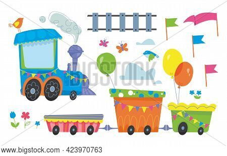 Train, Railway And Decor For The Holiday A Large Set Of Elements. Vector Illustration In Cartoon Chi