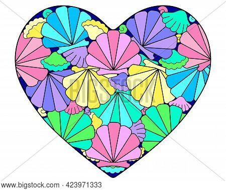 Heart With Multi-colored Seashells Scallops - Vector Linear Illustration. Heart With Nautical Scallo