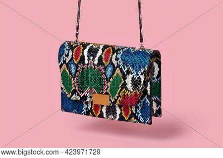 Beautiful Fashionable Small Handbag, Clutch, Made Of Snakeskin In A Bright Color