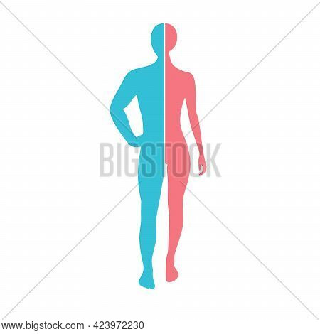 Woman And Man Silhouette Connection Man Body Part And Female Body Part. Male And Female Union, Love