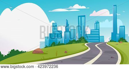 Banner With An Asphalt Road In The Direction Of A Large City. Place For Copy-paste Text. Vector Of A