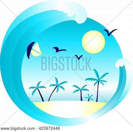 Tropical Island With Palm Trees And Ocean Wave. Rest By The Ocean