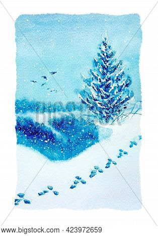 Watercolor Winter Illustration On Textured Paper. Landscape Snow Painting In Blue Tones. Spruce In T