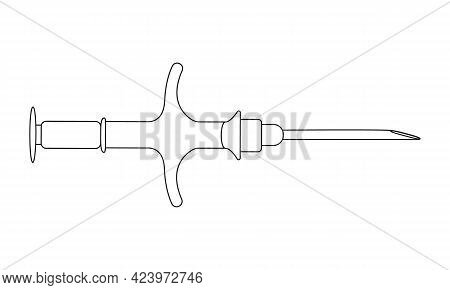 Syringe For Pet Microchipping In Linear Style. Veterinarian Tool For Dog Or Cat Implant Procedure. C