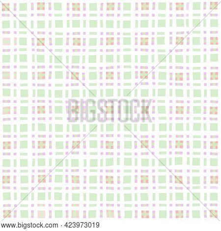 Green White Lilac Vintage Checkered Background. Space For Graphic Design. Checkered Texture. Classic