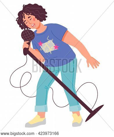 Cute Child Singer, Flat Vector Isolated On White Background. Portrait Of School Age Boy Singing.