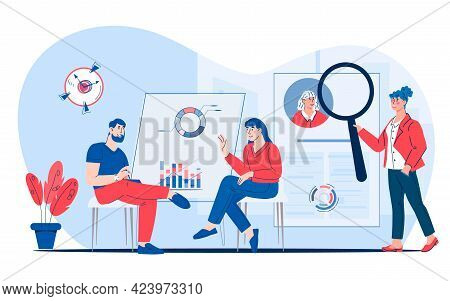 Hr Managers Looking For New Job Candidate. Recruitment, Headhunting, Flat Vector.