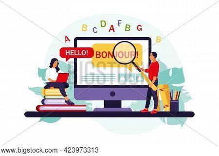Translator And Translation Service Concept. People Using Online Translation. Translating Foreign Lan
