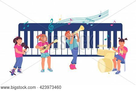 Children Playing Music And Singing. Kids Concert Or Music School, Flat Vector.