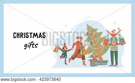 Christmas Shopping. Web Page For Christmas Market Or Fair Sale, Cartoon Vector.