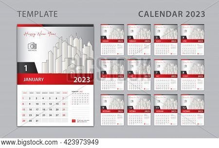 Calendar 2023 Template, Set Desk Calendar Design With Place For Photo And Company Logo. Wall Calenda