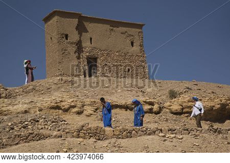 Ait-ben Haddou, Morocco. 30 September 2017. People In Kasbah Fortress Ait Ben Haddou In The High Atl
