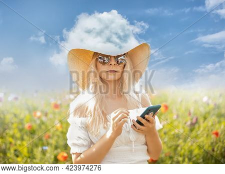 Surreal portrait of a young woman with a cloud on her head