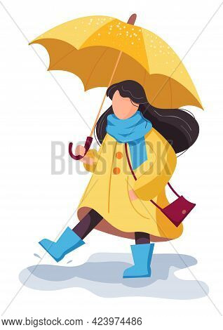 Happy Cute Girl With Umbrella In Yellow Raincoat And Rubber Boots Walks Through The Puddles. Cute Ca