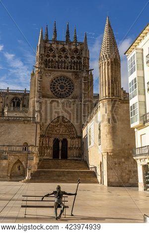 Burgos, Spain - November 02, 2020: Cathedral Of Burgos In A Sunny Day, Castilla Y León, Spain.