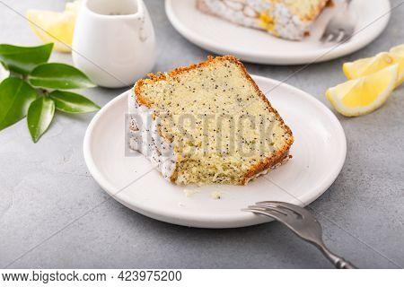 Lemon Poppy Seed Pound Cake With Powdered Sugar Glaze