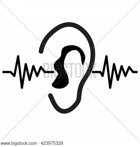 Earing Test Icon On White Background. Sound Wave Going Through Human Ear. Hearing Symbol. Flat Style