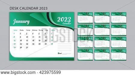 Set Desk Calendar 2023 Template Vector, Set Of 12 Months, Week Start On Sunday, Planner, Wall Calend
