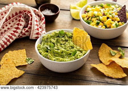 Tortilla Chips With Dips, Guacamole And Salsa