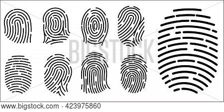 Set Of Realistic Fingerprint Icon Isolated Or Security Systems Access Authorization Or Fingerprint I